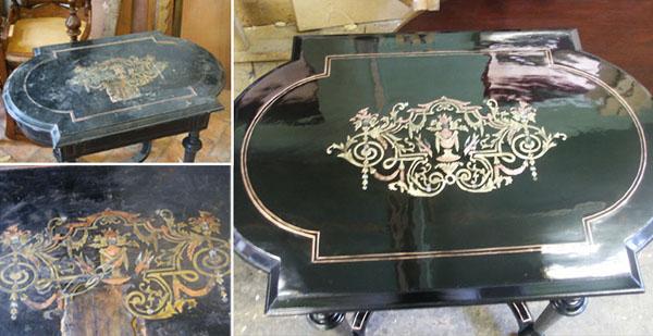 Antik asztal restaurálva
